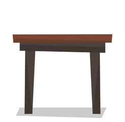 Brown wood coffee table vector illustration.