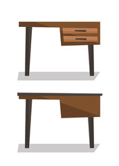 Wooden desk with drawers vector illustration.