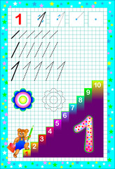 Educational page for children with number one. Developing skills for counting and writing. Vector image.