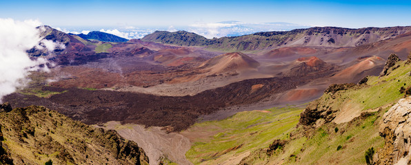 Panoramic landscape view of Haleakala volcano, Maui