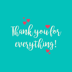 Turquoise blue teal Thank you for everything greeting card with