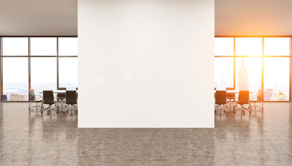 White wall in modern office.