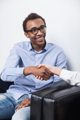 African American businessman shaking hands