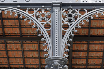 Iron column decorated of old train station