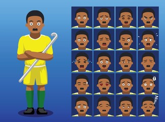 Brazilian Field Hockey Player Cartoon Emotion Faces Vector Illustration