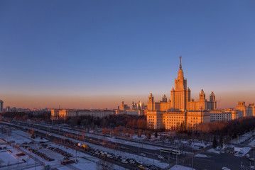 Sunset view of main building of Moscow State University in winter