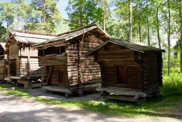 Rustic wooden house in the open-air museum Seurasaari island, Helsinki, Finland