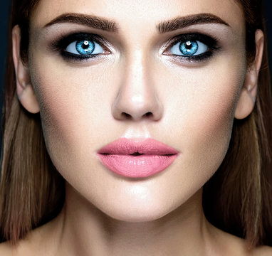 sensual glamour portrait of beautiful woman model lady with fresh daily makeup with pink lips  and clean healthy skin face