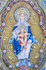 SALAMANCA, SPAIN, APRIL - 18, 2016: The modern enameled icon of Madonna by artist Luis Enrique G. Reina.
