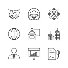 basic business thin line icons
