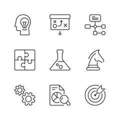 basic management and strategy thin line icons