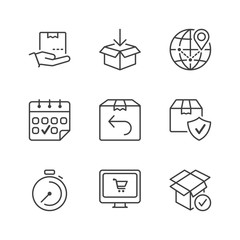 basic shipping thin line icons