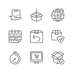 basic shipping thin line icons
