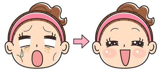 女性 美容のビフォーアフター