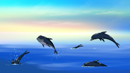 Dolphins in a Ocean