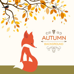 Vector Illustration of a Fall Background Design with Cute Fox and Autumn Leaves