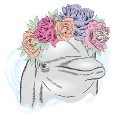 Cute dolphin in a wreath of flowers. Vector illustration for greeting card, poster, or print on clothes.
