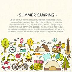 Set of hand drawn camping equipment symbols.