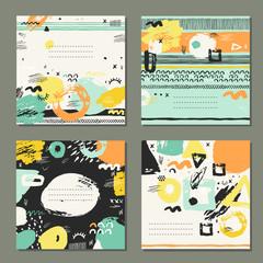 Trendy set of brush strokes cards.