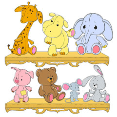 Children's toys on the shelf. Giraffe, hippopotamus, elephant, pig, hedgehog, hare, bear. Plush animals