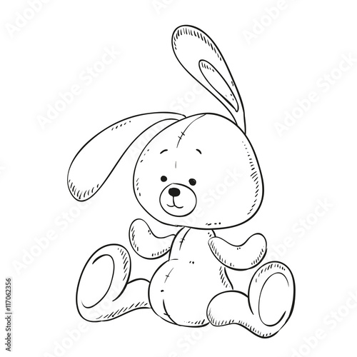 Toy Bunny coloring book. Vector isolated.\