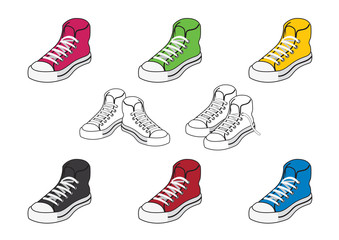 Set of icons colored shoes. Vector illustration of different sneakers. Shoes youth