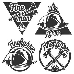 Vintage fireman emblems