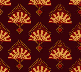 Seamless pattern in the Japanese style with a golden fans on a white background. It can be used for fabric.