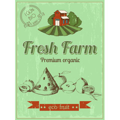Vintage poster of fresh farm, eco fruit. Premium organic. Vector drawing in the graphic style. Sketch