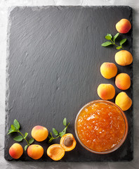 apricot jam in a glass bowl  (Top view )