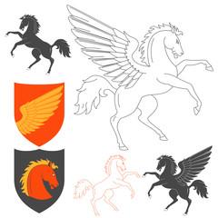 Pegasus And Horse Illustration