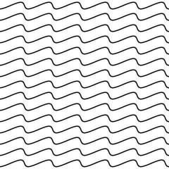 Black Wavy Line Seamless Pattern