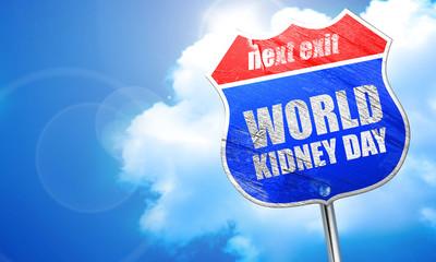 world kidney day, 3D rendering, blue street sign
