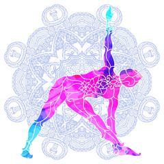 girl in yoga pose over ornate round mandala pattern.