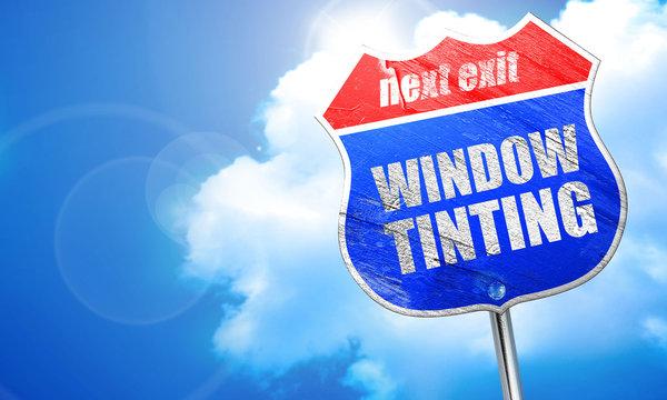 window tinting, 3D rendering, blue street sign