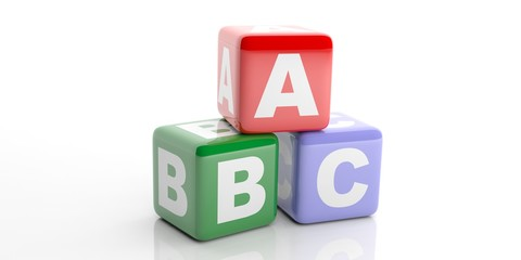 Abc cubes on white background. 3d illustration