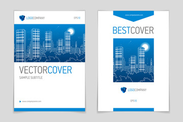 Cover booklet business and architecture, modern design, blue and grey, vector sample design