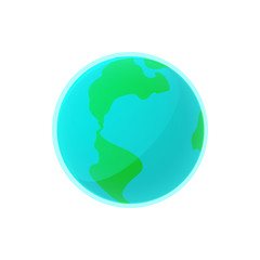 Earth icon in cartoon style on a white background