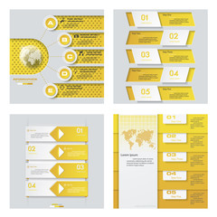 Collection of 4 yellow color template/graphic or website layout. Vector Background. For your idea and presentation.