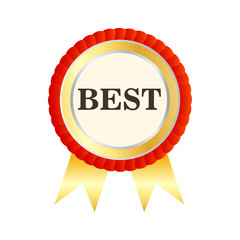 Gold medal with the word Best icon in flat style on a white background