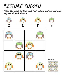 Childrens sudoku puzzle with cute owls for children education
