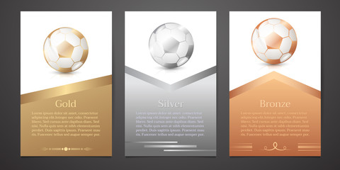 Set of vertical banners, Gold, Silver, Bronze soccer, Vector illustration.