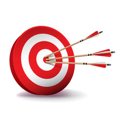 Red Archery Target with Arrows Illustration
