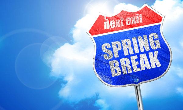 spring break, 3D rendering, blue street sign
