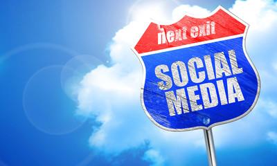 social media, 3D rendering, blue street sign