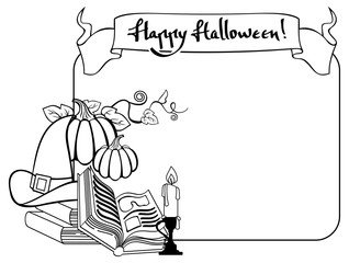 Contour halloween frame with witch hat, magician books and candlestick. Vector clip art.