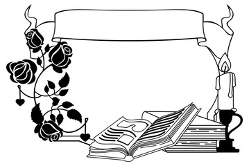 Contour frame with roses, books and candlestick. Vector clip art.