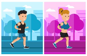 sport man and woman run vector flat illustration