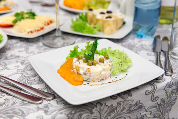 Plate with original appetizer