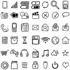 Vector Set of Black Doodle Mobile Icons